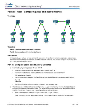 1217 Packet Tracer - Comparing 2960 and 3560 Switches Instructions