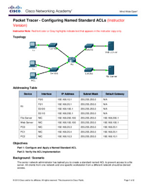92111 Packet Tracer - Configuring Named Standard ACLs Instructions IG