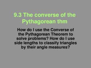 93 The Converse of the Pythagorean Theorem